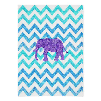 Purple Paisley Elephant Girly Teal Glitter Chevron Poster