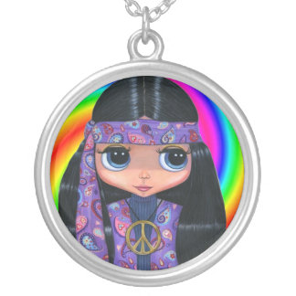 Purple Paisley Hippie Girl & Peace Sign Necklace