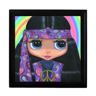 Purple Paisley Hippie Girl with Big Eyes Gift Box