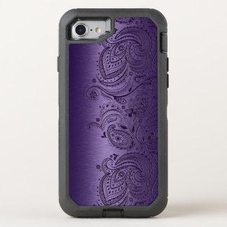 Purple Paisley Lace On Metallic Purple Texture OtterBox Defender iPhone 8/7 Case