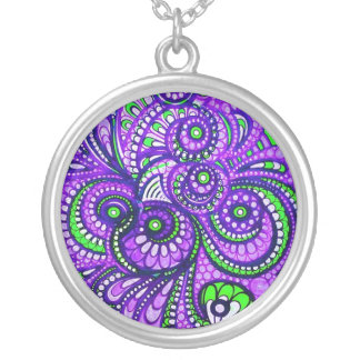Purple Paisley Large Pendant Necklace