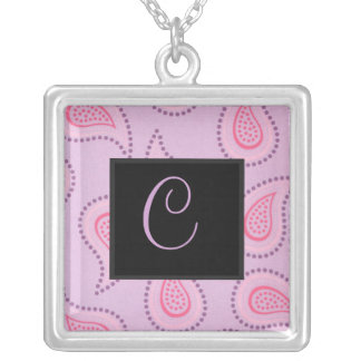 Purple Paisley Monogram Necklace