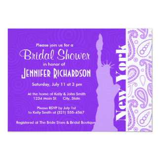 Purple Paisley; NYC, statue of liberty Invite
