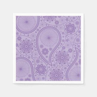 Purple paisley pattern disposable napkin