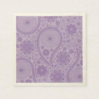 Purple paisley pattern disposable serviette