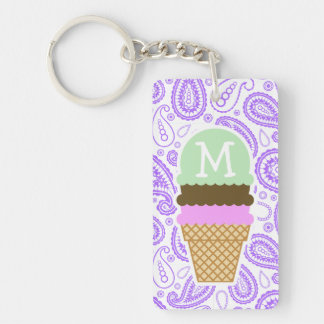 Purple Paisley Pattern; Ice Cream Cone Double-Sided Rectangular Acrylic Key Ring