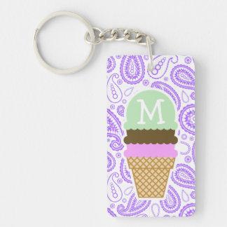 Purple Paisley Pattern; Ice Cream Cone Double-Sided Rectangular Acrylic Key Ring
