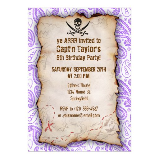 Purple Paisley Pattern Jolly Roger; Pirate Cards