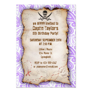 Purple Paisley Pattern Jolly Roger; Pirate 13 Cm X 18 Cm Invitation Card