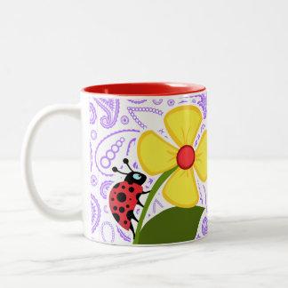 Purple Paisley Pattern; Ladybug Two-Tone Coffee Mug
