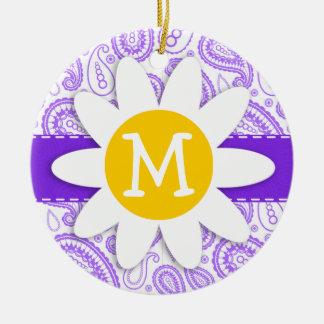 Purple Paisley Pattern; Spring Daisy Ornaments