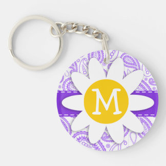 Purple Paisley Pattern; Spring Daisy Double-Sided Round Acrylic Key Ring