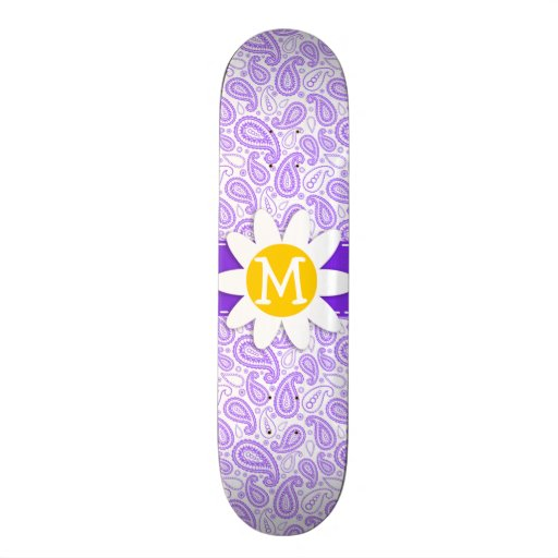 Purple Paisley Pattern; Spring Daisy Skate Board Deck