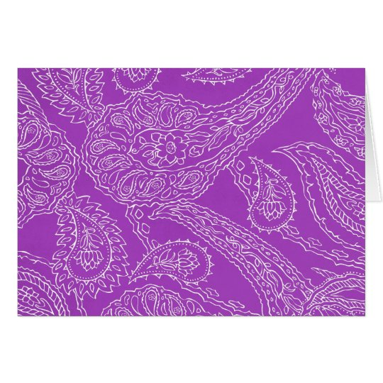 Purple Paisley Print Summer Fun Girly Pattern Card