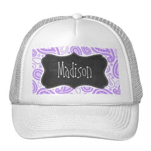 Purple Paisley Vintage Chalkboard look Hats