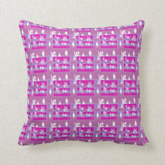 Purple,Pale Blue White Patterened Throw Pillow