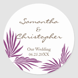 Purple palm leaves tropic wedding favor seal label round sticker