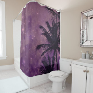 Purple Palm Sky Shower Curtain