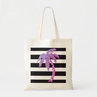 Purple Palm Tree Black White Stripes Tote Bag