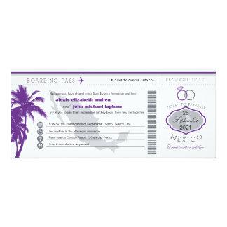 Purple Palm Tree Mexico Boarding Pass Wedding 10 Cm X 24 Cm Invitation Card