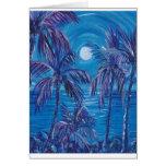 Purple Palms Full Moon Greeting Card