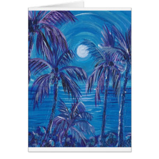 Purple Palms Full Moon Greeting Card