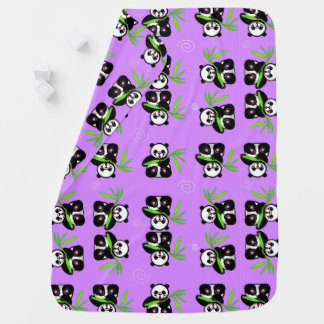 Purple Panda Bear Baby Blanket