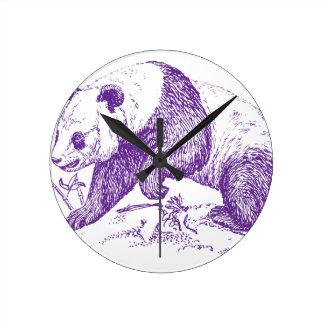 Purple Panda Bear Round Clock