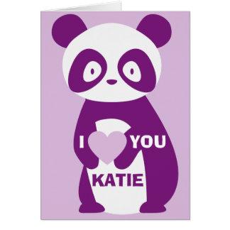 Purple Panda I Love You (Any Name) Greetings Card