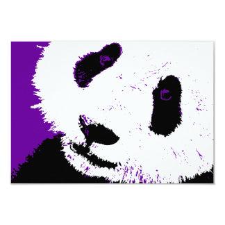 "purple panda 3.5"" x 5"" invitation card"