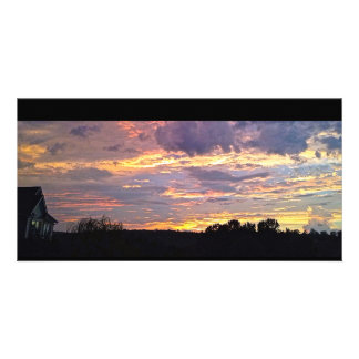 Purple Panoramic Sunset Personalised Photo Card
