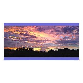 Purple Panoramic Sunset Custom Photo Card