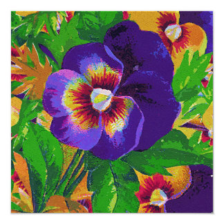 Purple Pansies 13 Cm X 13 Cm Square Invitation Card