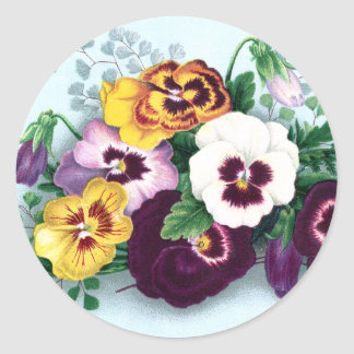 Purple Pansies and Delicate Ferns Round Sticker