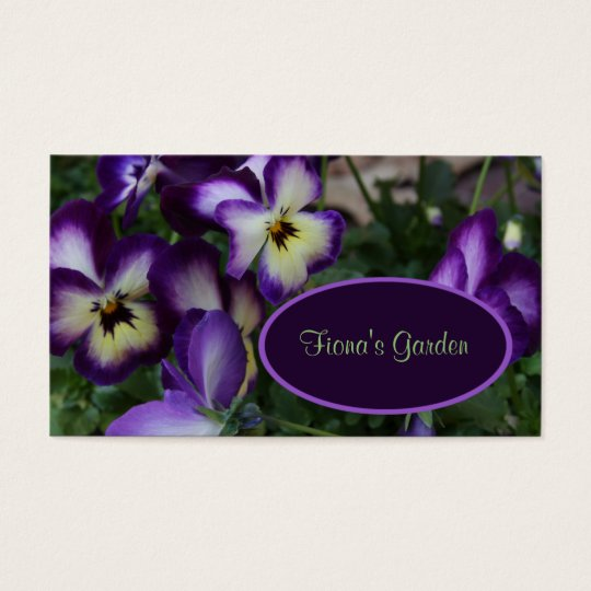 Purple Pansies Florist or Nursery Business Card