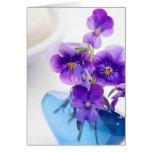 Purple Pansies Flowers Blue Vase Floral Pansy Greeting Card