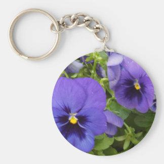 Purple Pansies Basic Round Button Key Ring