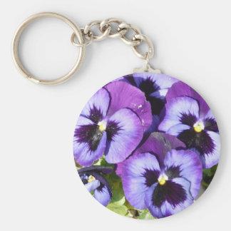 purple pansies key ring