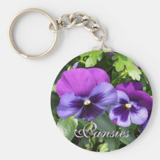 Purple Pansies Keychain