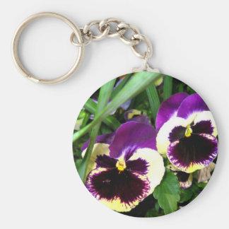 Purple pansies - Keychain