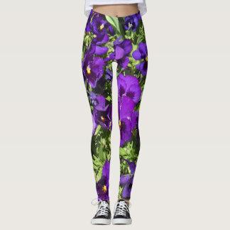 Purple Pansies Leggings