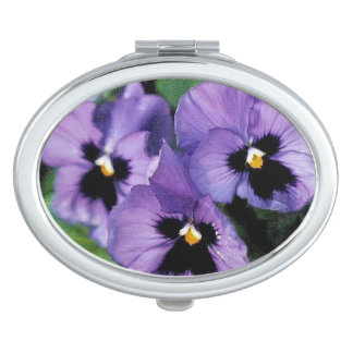 Purple Pansies Makeup Mirror