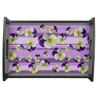 Purple pansies serving tray