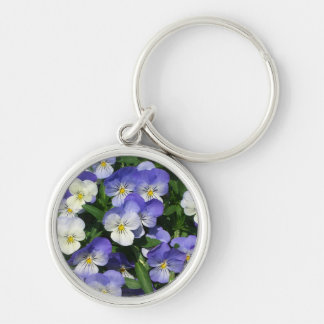 Purple Pansies Silver-Colored Round Key Ring