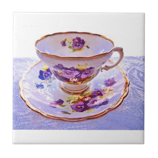 Purple Pansies Vintage Tea Cup Tile