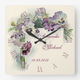 Purple pansies wedding anniversary square wall clock