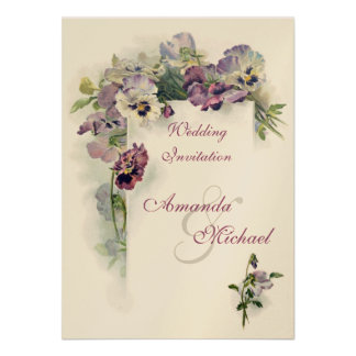 Purple pansies wedding invitation