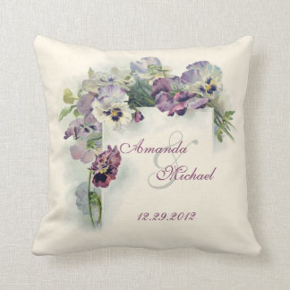 Purple pansies wedding square throw pillow