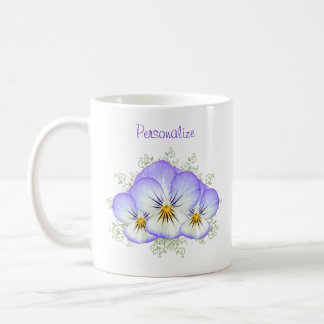 Purple Pansies With Name Coffee Mug