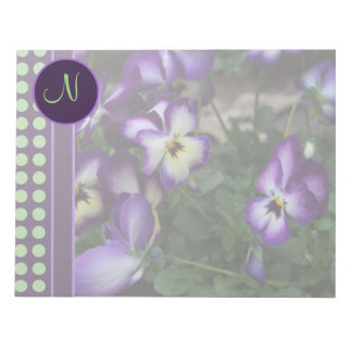 Purple Pansy and Green Dots Notepad